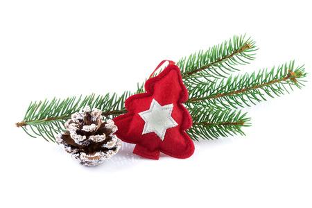 Dekorace červeného vánočního stromu s pobočkou