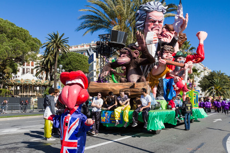 Nice, France - February 22, 2015: Gigantic parade float during the Carnival of Nice on the French Riviera.This is the main winter event on the Riviera and one of the largest carnivals in the world. The theme for 2015 was King of Music. Redakční