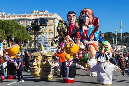 Nice, France - February 22, 2015: Participants in the carnival parade in Nice. The theme for 2015 was King of Music.The Carnival of Nice is an annual event. Redakční