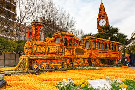 MENTON, FRANCE - FEBRUARY 27, 2013: Art made of lemons and oranges in the Lemon Festival Fete du Citron. The famous fruit garden receives 160,000 visitors a year. Editorial