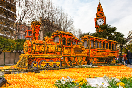 MENTON, FRANCE - FEBRUARY 27, 2013: Art made of lemons and oranges in the  Lemon Festival Fete du Citron. The famous fruit garden receives 160,000 visitors a year. Editorial