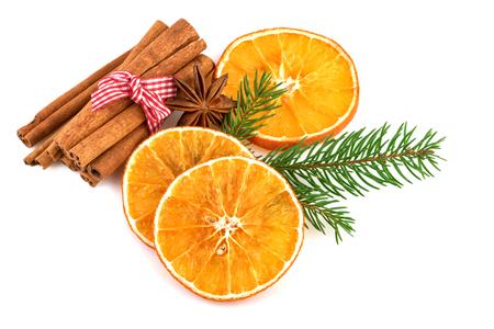 dried orange: Dried Orange Slices with Cinnamon over White