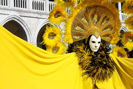 costumed: Costumed person Venetian mask during Venice Carnival Stock Photo