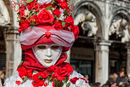 st mark's square: Carnival floral Mask in St Marks square, Venice, Italy