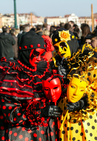 st  mark's square: Two colorful Venetian masks at St. Marks Square, Venice, Italy