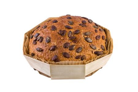 comiendo pan: Pan del germen de calabaza aislado