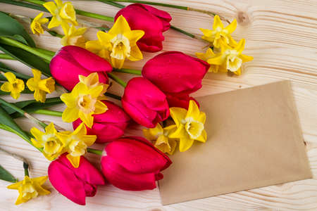 text space: Spring flowers with paper sheet text space