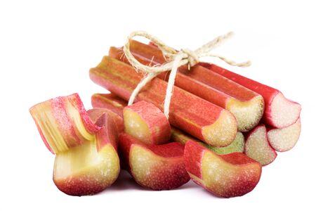 bundle: bundle of rhubarb stalks on white background