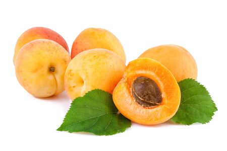 apricot kernel: Apricots organic fruits with leaves on white background.