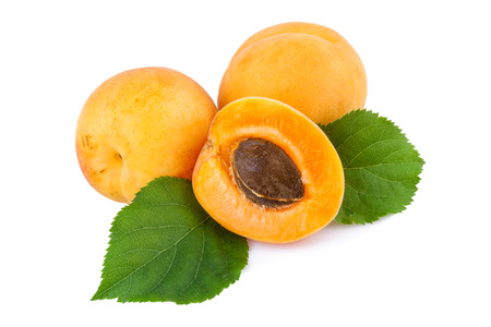 apricot kernels: Apricots and half with fruit kernel on white.