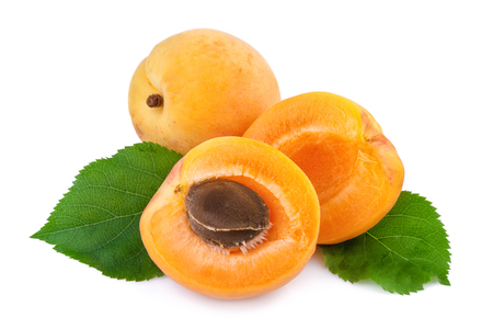 apricot kernel: Apricot and half fruit with kernel on white background. Stock Photo