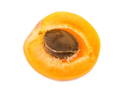 apricot kernel: Apricot half with fruit kernel on white background. Closeup.