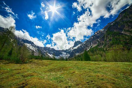 Mystic mountain landscape at sunshine.