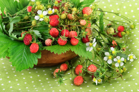 rustic: Bowl with woodland strawberry on rustic background. Stock Photo