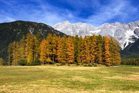 tyrol: Mieminger Plateau, Mountains in autumn, Tyrol, Austria. Stock Photo
