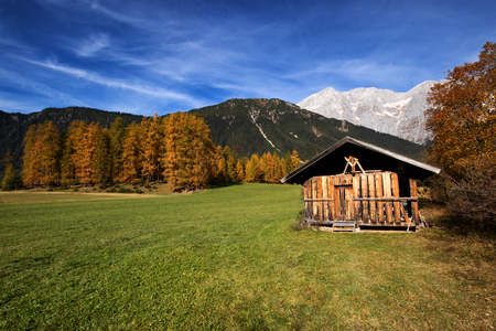 alpine hut: Mountain scenery in the Alps with old alpine hut shed. Mieminger plateau, Austria, Tyrol. Editorial