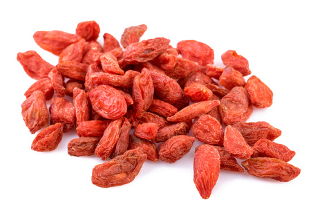 pile of dried Goji berry on white