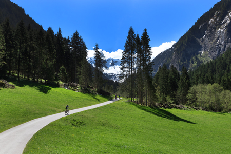 mountainbiking: Way through mountain landscape in Stillup Valley Austria Tyrol