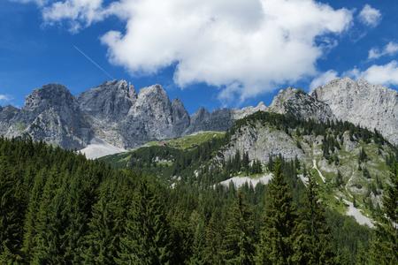 Mountain scene in the Alps austrian travel destination Wilder Kaiser chain, Tyrol.