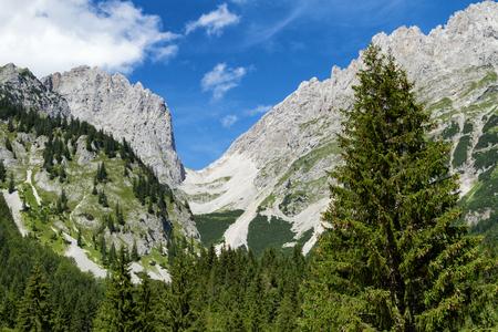 Mountain range high mountains Ellmauer Tor austrian travel destination Wilder Kaiser chain, Tyrol.
