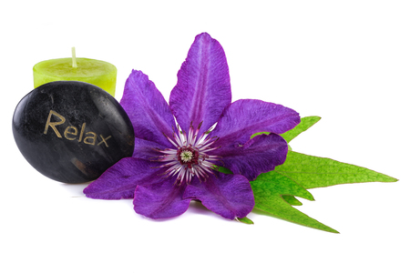 spa stone: Relax Wellness Tropical Flower with Spa Stone and Candle Stock Photo