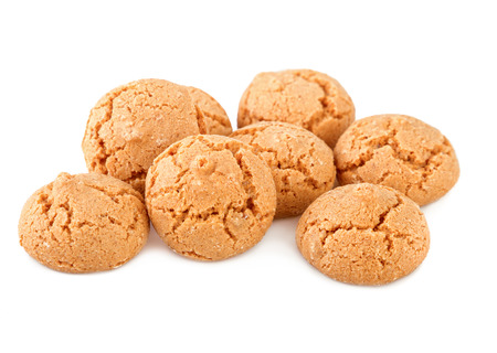 Amaretti cookies on white. Traditional italian biscuits.