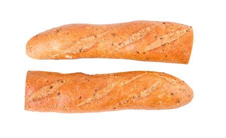two and a half: Baguette diet whole grain baguette two half halves isolated on white Stock Photo