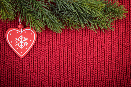 Christmas Red Wool Background With Traditional Tree Decoration In A Farmhouse Style Stock Photo