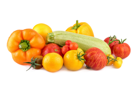 Colorful vegetables on white background. Fresh vegetable as cooking ingredients. Stock Photo