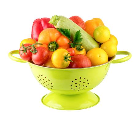 Green Colander with Fresh Vegatables Vegan Cooking Concept