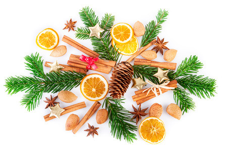 Christmas spices arrangement on white background. Flat lay, top view.
