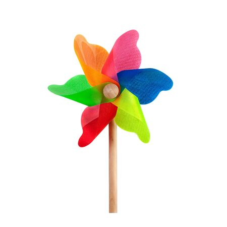rotates: Pinwheel toy windmill multicolor garden wind spinner on white. Image included clipping path Stock Photo