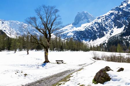 Mountain landscape in the early springtime. Austria, Tyrol, Karwendel Alpine Park, near Gramai Stock Photo