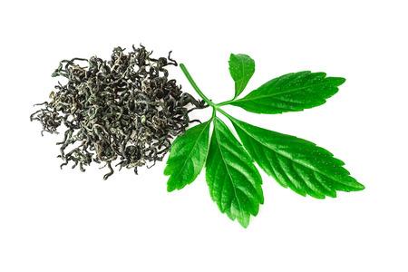 jiaogulan leaf or immortality herb jiaogulan plant dried on white background