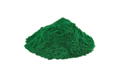 Spirulina powder heap of blue-green algae dried powder isolated on white
