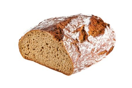 Closeup of rye bread halved isolated on white background