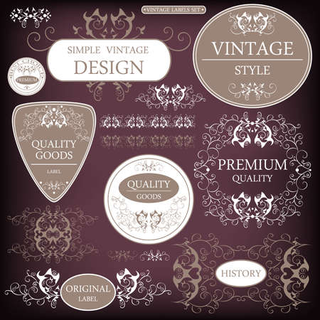 Vector Set  Vintage frame collection and decorative label elements - Vector illustration  Vector