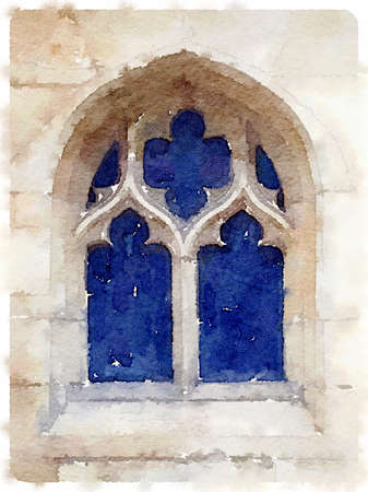 Digital watercolor painting of an old cathedral window in  Gloucester in the UK.