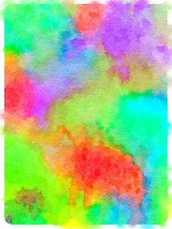 Digital watercolor painting of an abstract vibrant colorful dyed fabric background with a watercolor effect. Stok Fotoğraf