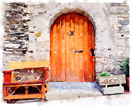 Digital watercolor painting of a classic old wooden door in the Pyrenees in Spain, with a bench and flower pot either side. Stok Fotoğraf
