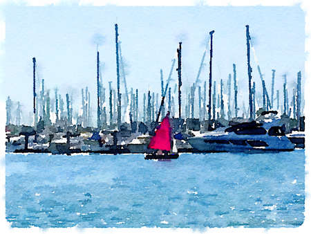 Digital watercolor painting of a dinghy with red sail sailing at the entrance to a marina. With space for text.