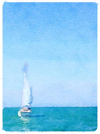 voile: Une peinture à l'aquarelle numérique d'un bateau à voile dans la mer avec ses voiles vers le haut et avec un espace pour le texte. Une photo de portrait.