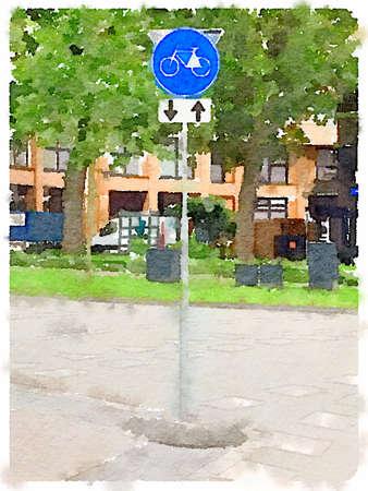 ciclos: acuarela digital de una señal de tráfico holandesa, las rutas de los ciclos de pedal solamente con tráfico bidireccional. Foto de archivo