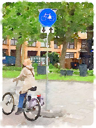 Digital watercolor painting of a lady on a bicycle riding on a bike path with a Dutch road sign, route for pedal cycles only with two way traffic.