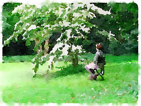 Digital watercolor painting of a lady sitting on a chair under a tree with white flowers by a moss covered green pond. With space for text. Stok Fotoğraf