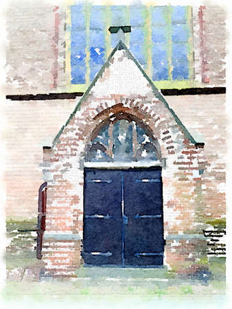 Digital watercolor painting of a church door entrance in the Netherlands. Stok Fotoğraf