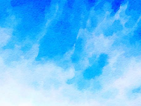 Digital watercolor painting background with blue and white colors in an abstract pattern and space for text. Stok Fotoğraf