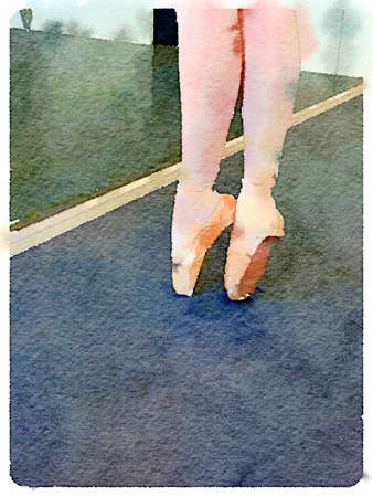 Digital watercolour painting of legs of young ballerina on point in a ballet dancing studio. With space for text.