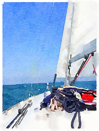 A portrait digital watercolor painting of a sailing boat in the sea with its sails up taken from the deck of the boat. With space for text. Stok Fotoğraf