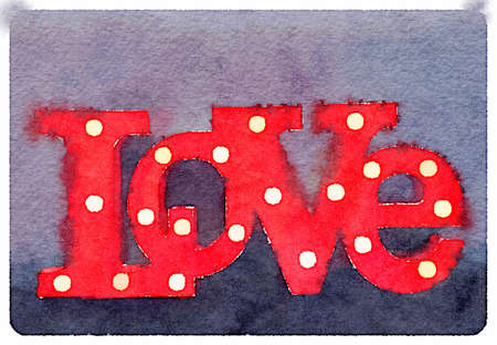 Digital watercolor painting of a LOVE sign with lightbulbs in the letters.